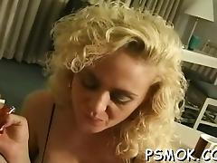 Cigarette, Blonde, Blowjob, Handjob, MILF, POV