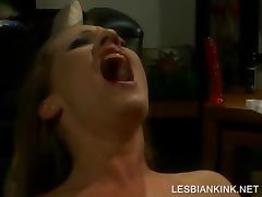 Lesbo BDSM scene with slave getting toyed tube porn video