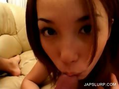 Asian cutie gives blowjob in close up tube porn video
