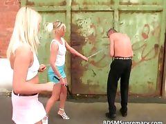 Two hot blonde sluts spank guy ass