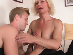 Hot blonde mature woman loves riding his big dick