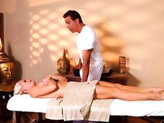 Hot blonde babe felt up by masseur