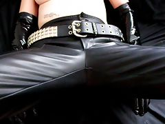 Pierced Milf Latex Gloves and Miniskirt Handjob