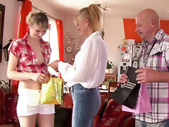Future in laws and son's girlfriend family threesome