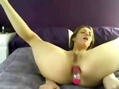 Amateur blonde shoves multiple toys up her ass tube porn video