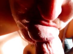 Cumming in a mature wife face and mouth