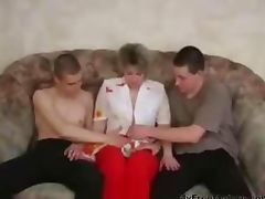 Russian Granny Fucking With Two Young On The Couch mature mature porn granny old cumshots cumshot