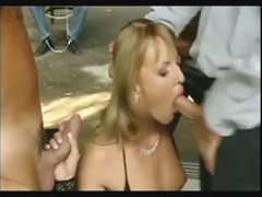 blonde chick fucks 3 dudes in public