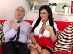 Brunette with a pair of big fake tits puts them to work tube porn video