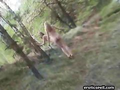 Two girls get naked in the outdoors
