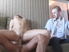Swingeing russian woman Leighton blows prick and bounces it