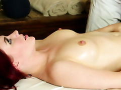 Sexy redhead getting pussy ravaged