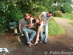 Teen threesome public sex in public park in broad daylight tube porn video