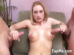 Horny blonde handling two massive cocks tube porn video