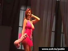 Kinky Public Dildo Porn on stage