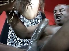Black cock ramming shaved ebony pussy tube porn video