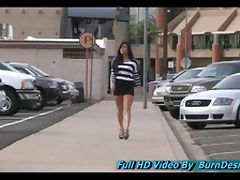 Marletta babe teen sexy brunette is seen walking a busy downtown area with a rather short dress tube porn video