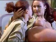 Horny lesbians fucking in threesome