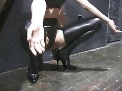 Hot chick in mask and rubber gets tortured tube porn video
