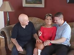 Husband watches feisty blonde wife take cock on a couch tube porn video