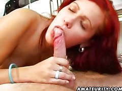 Hot redhead GF sucks and fucks me tube porn video