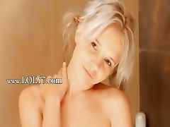 Shaving of horny 18yo blonde pussy