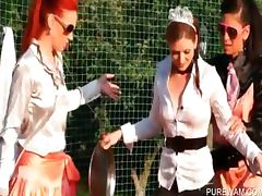 WAM outdoor scene with kinky lesbians tube porn video