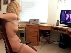 Tied Up To The Chair with Big Vibrator tube porn video