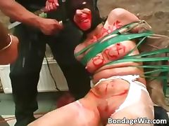 Tied up slave slut fucks roughly part5