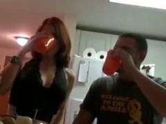 Two hot chicks gets nasty at the party and ends up in a sweet orgy tube porn video