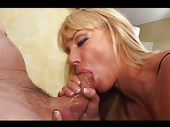 Mature blonde Kat Kleevage sucking cock
