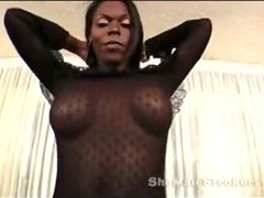 BLACK TRANNY STROKES HER BIG HUNG COCK OFF