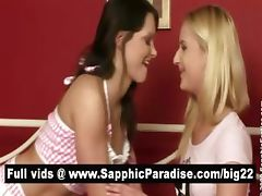 Blonde and brunette lesbians kissing and having lesbian love tube porn video