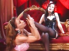 Foot fetish lesbians with stockings tube porn video
