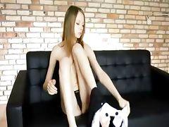 Rubbing her ultra bony pussy