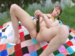 Masturbation on the green glade in euro tube porn video