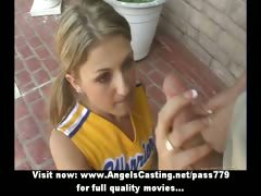 Amateur amazing blonde cheerleader doing blowjob in public