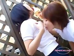 2 Asian Teens Licking Icecream From Each Other Body Outside On The Balcony tube porn video