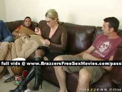 Naughty blonde woman gets in a house with two guys tube porn video