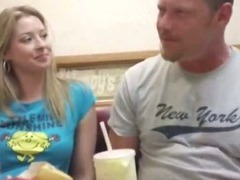 Teen blonde babes get picked up at a dinner and fuck