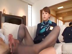 Sexy japanese gives foot job on couch tube porn video