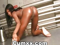Oiled Ebony Babe Showinng Assets Solo
