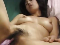 Hairy korean girl having holes toyed