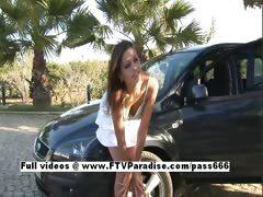 Lenka easy going teenage stunning brunette posing