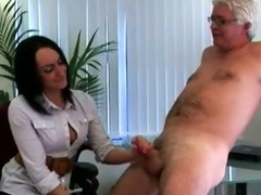 Cfnm fetish office hottie gives handy tube porn video