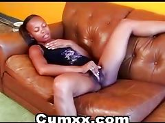 Afro Teen Finger Fucking On Couch