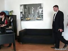 Office lady pleases two cocks tube porn video