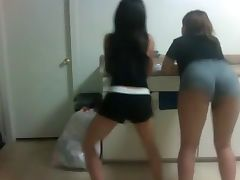 2 Sexy Wasted Young Asian Girls Shaking Their Asses