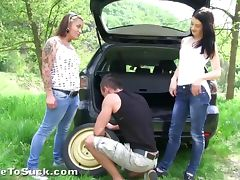 Highway threesome tube porn video
