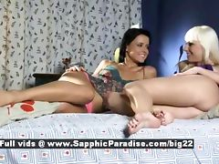 Lenna and Dara astonished lesbian babes licking